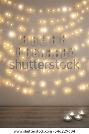 Happy Birthday Card Fairy Lights On The Wall