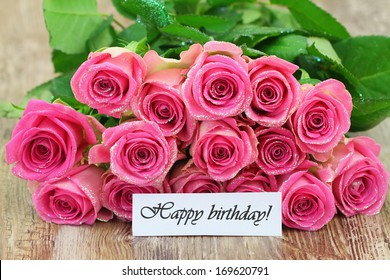 Happy Birthday Card With Pink Roses Bouquet Isolated On White