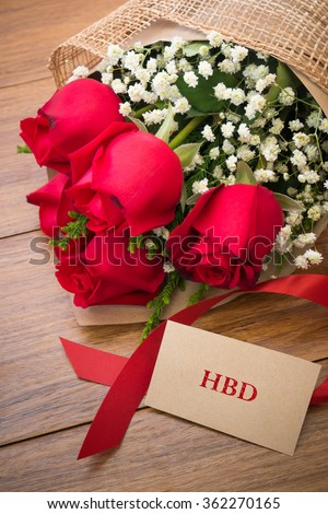 Happy Birthday Card Roses On Wooden Stock Photo Edit Now 362270165
