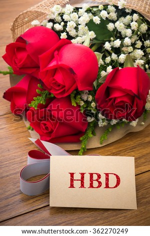 Happy Birthday Card Roses On Wooden Stock Photo Edit Now 362270249