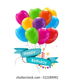 Happy Birthday Card Template with Balloons, Ribbon and Candle  Illustration