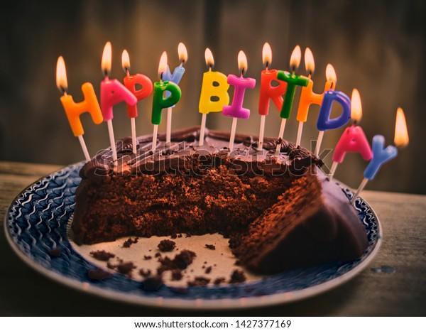 Prime Happy Birthday Chocolate Cake Colourful Lit Stock Photo Edit Now Funny Birthday Cards Online Fluifree Goldxyz