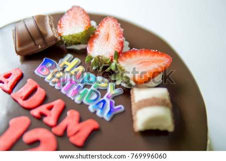 Happy Birthday Chocolate Cake With Strawberry And ADAM Name Isolated White Background
