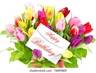 Birthday flowers images stock photos vectors shutterstock happy birthday colorful bouquet of fresh tulips with card thecheapjerseys Gallery