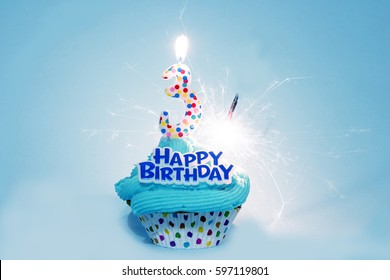 Happy Birthday Cupcake with 3 Three Candle and Sparkler - Includes words Happy Birthday