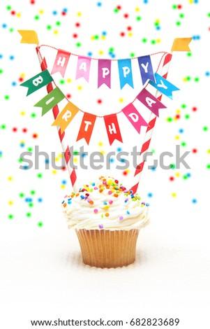 happy birthday cupcake birthday banner stock photo edit now