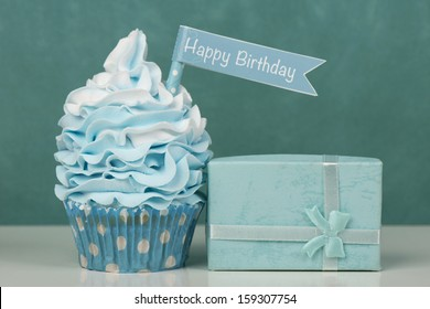 Happy Birthday cupcake in blue