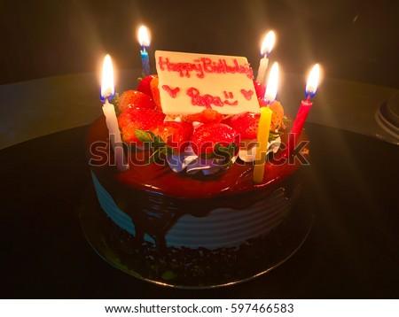 Happy Birthday Dad Strawberry Cake Candle Stock Photo Edit Now