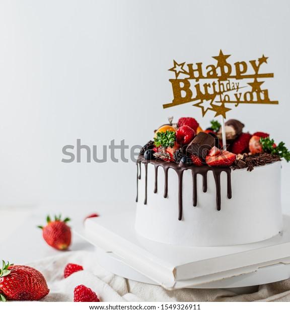 Marvelous Happy Birthday Fresh Fruit Cake Chocolate Stockfoto Nu Bewerken Personalised Birthday Cards Veneteletsinfo