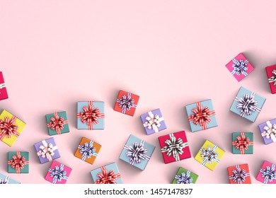 Happy birthday and gift box on pink color background