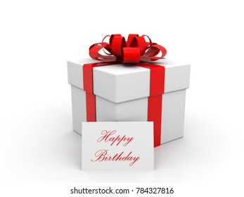 Happy Birthday gift box over white background. 3d illustration