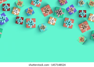 Happy birthday and lot of gift box in top view flat lay on green background