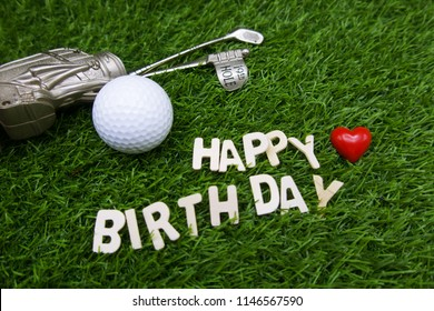 Happy Birthday To Golfer With Golf Ball And On Green Grass