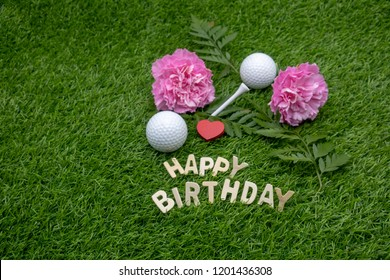 Happy Birthday To Golfer With Golf Ball And Tee On Green Grass