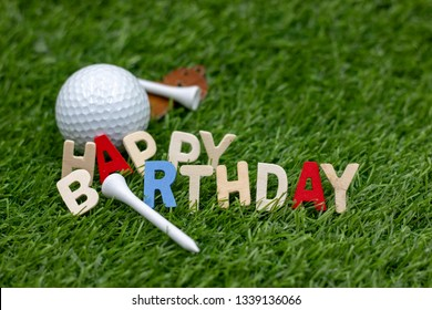 Happy birthday to golfer with golf ball and tee on green