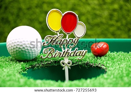 Happy Birthday To Golfer With Golf Ball And Sign On Green Grass
