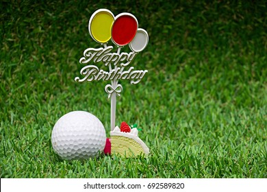 Happy Birthday To Golfer On Green Grass