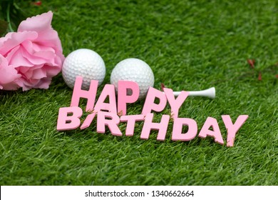 Happy Birthday To Golfer With Pink Roses On Green