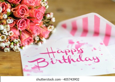 Happy Birthday Greeting Card With Color Fitting Bouquet Of Flowers