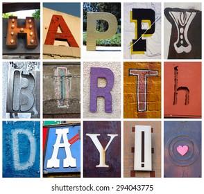 Happy Birthday Greeting Card - Found Type