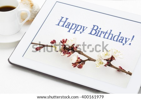 Happy Birthday Greeting Card Handwriting Apricot Stock Photo Edit