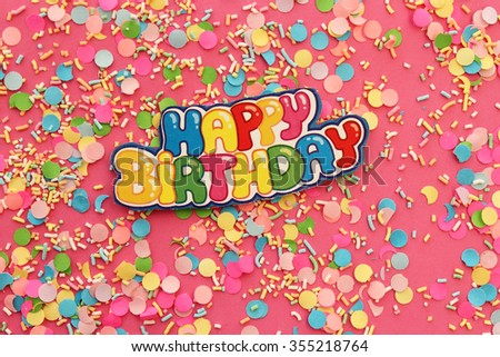 Happy Birthday Greeting Card On Pink Background