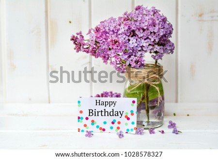 Happy Birthday Greeting Card With Spring Bouquet Of Lilac Flowers