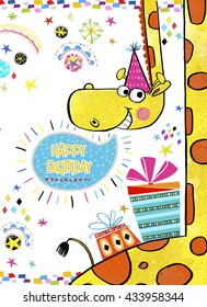 Happy Birthday Invitation.Birthday greeting card with gifts and Giraffe in bright colors.