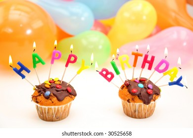 Happy birthday letter candles on white background