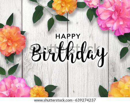 Happy Birthday Message With Bright Flower Border