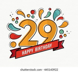 29th birthday stock images royalty free images vectors happy birthday number 29 greeting card for twenty nine year in modern flat line art bookmarktalkfo Images