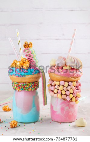 Happy Birthday Party Background Two Color Freak Shakes Topping With Donut Marshmallow Popcorn
