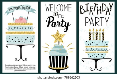 Happy Birthday Party cards set with cakes, cupcakes, toppers, candles and lettering text. Hand drawn illustration.