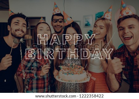 Happy Birthday Posing For Photo Cake Candles Great Mood Flowers Surprise Party Giftbox Girl Hat Best Friend
