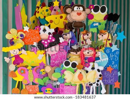 happy birthday puppets english spanish stock photo edit now