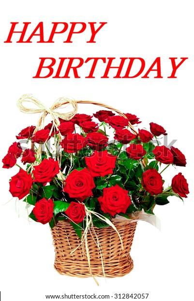 Happy Birthday Red Beautiful Flowers Roses Stockfoto Jetzt