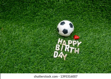 Happy birthday to soccer with football on green grass with love.