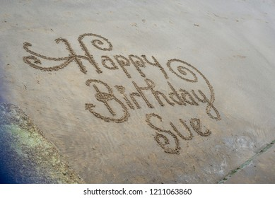 Happy Birthday Sue - a message in the sand