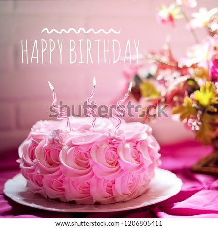 Happy Birthday Wish Pink Rose Shape Cake For Event