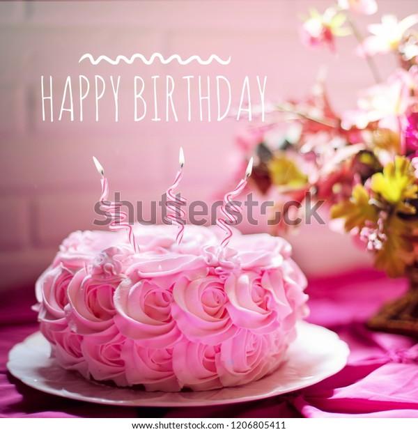 Groovy Happy Birthday Wish Pink Rose Shape Stock Photo Edit Now 1206805411 Funny Birthday Cards Online Elaedamsfinfo