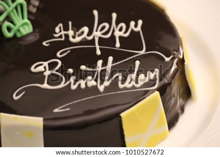 Happy Birthday Wishes On Yummy Chocolate Cake With Garnishing