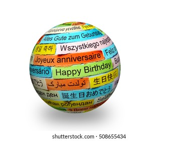Happy Birthday  Word Cloud printed on colorful paper different languages on 3d ball