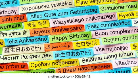 Happy Birthday  Word Cloud printed on colorful paper different languages