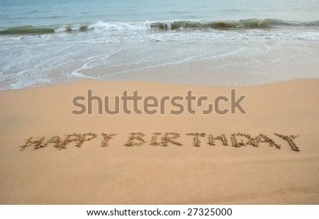 Happy Birthday Written In The Beach