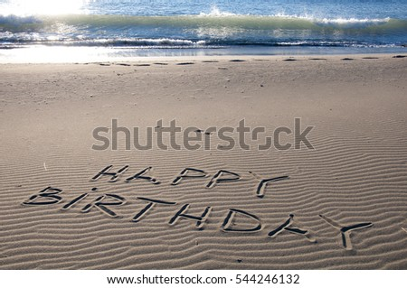 Happy Birthday Written In Sand On A Beach