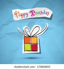 Happy Birthday to You theme on crumpled paper background