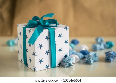 Happy Bithday gift box with paper stars