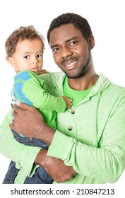 Happy black father and baby boy cuddling on isolated white background Use it for a child, parenting or love concept