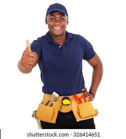 happy black handyman giving thumb up on white background