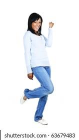 Happy black woman celebrating isolated on white background